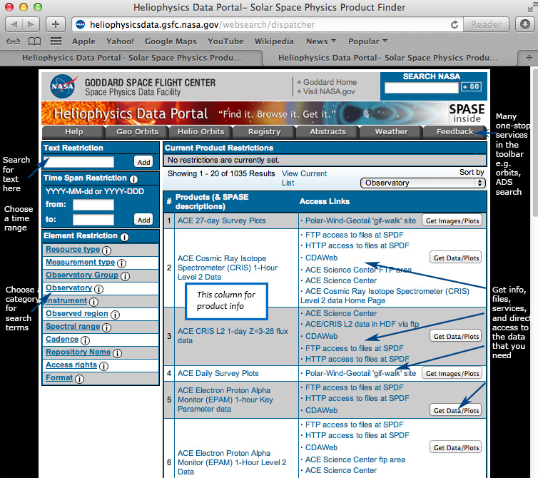 The Heliophysics Data Portal Find and Access Space and